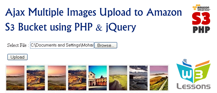 Multiple Image Upload to Amazon S3 using Php& jQuery