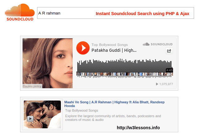 Soundcloud Search in PHP