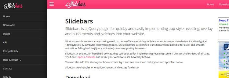 jQuery Slidebars