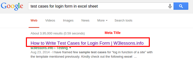 Title appears in Google Search Results